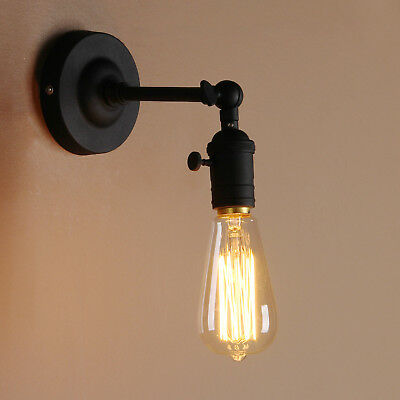 Vintage Industrial Minimal Black Sconce Wall Light Loft Wall Angled Bare Bulb