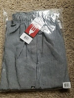"""NEW Chef Works NBCP-000-S Checkered Baggy Designer Chef Pants """"Small"""""""