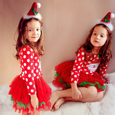 Toddler Girls CHRISTMAS Outfit  Bowknot Long Sleeve Dot Dress Clothes-Set