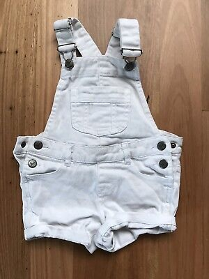 CHILDREN'S CUTE ROLL UP White COTTON Dungaree SHORTS BY Target Size 3 - CHEAP