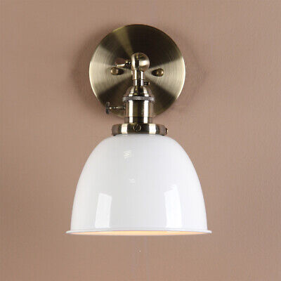 "6.3 ""Vintage Metal Wall Sconce Loft Wall Lamp Wall Fixture White With Switches"