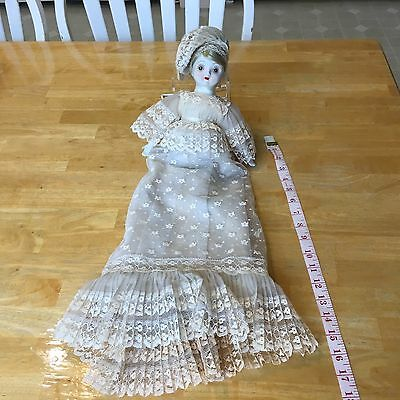 "Vintage/Antique 13"" White Porcelian Doll with Long pleated gorgeous Lace Dress"