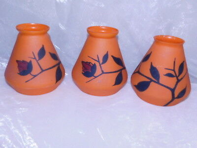 Lot 3 Tulipe Art Deco  1920-30 Pate De Verre Orange Peinte School Nancy Lustre
