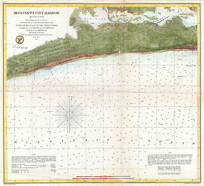 1857 Mississippi Harbor U.S. Coast Survey Sea chart Coastal Nautical Map Poster
