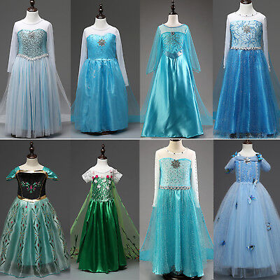 Kids Girls Dress Princess Anna Elsa Cosplay Costume Clothes Party Fancy Dress Up