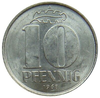 (D4) - Germany DDR - 10 Pfennig 1968 A - Staatswappen - AU/UNC - KM# 10
