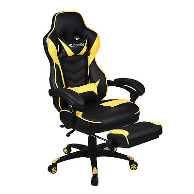 Ergonomic Racing Gaming Chair High Back Bucket Seat Leather Computer Desk Task