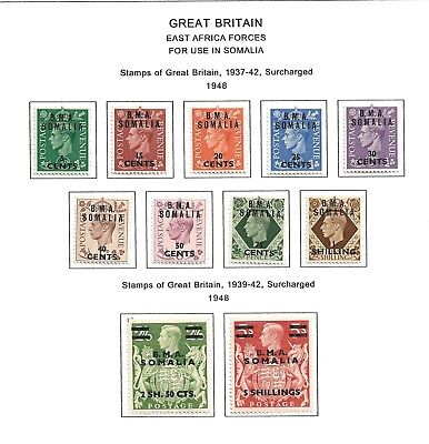 1948 (13) Bma Somalia Set Of 11 Definitives Surcharged  Fine Mounted Mint