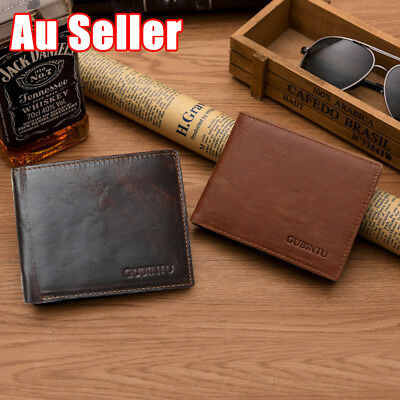Premium Genuine Leather Mens Purse Bifold Card Wallet RFID Blocking Anti Scan