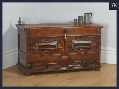 Antique English Charles II Oak Mule Chest Coffer Trunk Blanket Box With Drawer