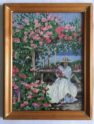 Vintage Framed Tapestry NEEDLEPOINT ENGLISH Country Rose Garden With Lady