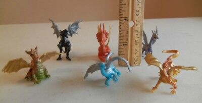 6 Colorful Dragon Figurines Great Christmas Stocking Stuffers
