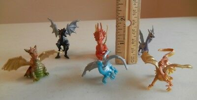 6 Colorful Dragon Figurines