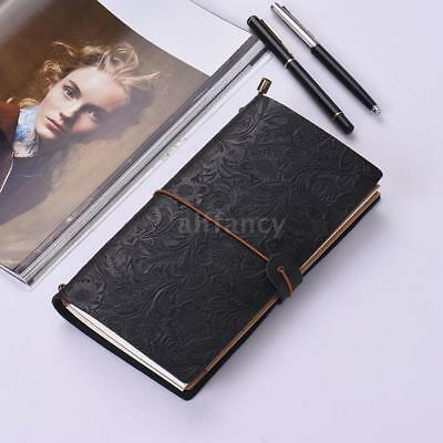 Embossed Travel Journal Notebook Diary Leather Bound Lined Blank Notepad U4Z3