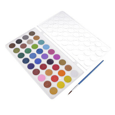 36 Colors Solid Watercolor Paints Pan Set With Painting Brush Pen Art Kit