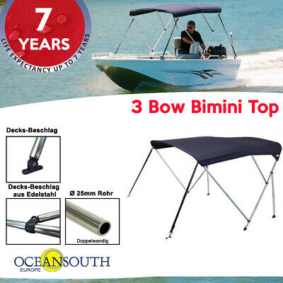 Oceansouth 3 Bow Bimini Top with  integrated storage boot
