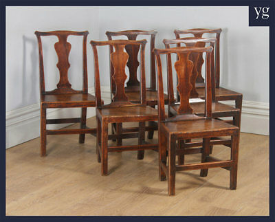 Antique Set Six 6 Georgian Chippendale Elm Country Cottage Kitchen Dining Chairs