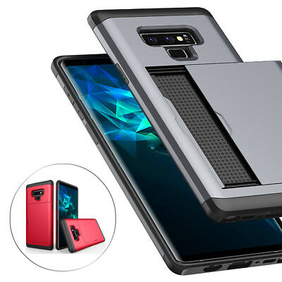 Hybrid Armour Hard PC Credit Card Holder Slide Case For Samsung Galaxy Note 9