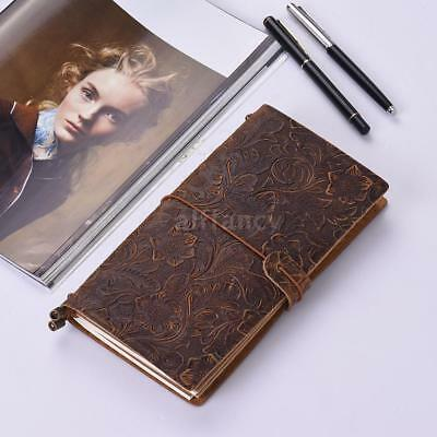 Embossed Travel Journal Notebook Diary Leather Bound Lined Blank Notepad S2P5