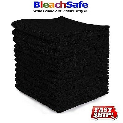 "24 new cotton bleach proof salon hand towels ( black16""x27"") bleach safe"