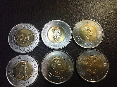 BU 2000, 2001, 2002, 2003, 2004, 2005 Canada $2 Dollar From Mint Rolls, Toonies