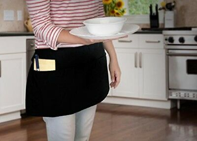 6 piece new black 12x22 diner kitchen tips waitress aprons heavy duty 3 pockets
