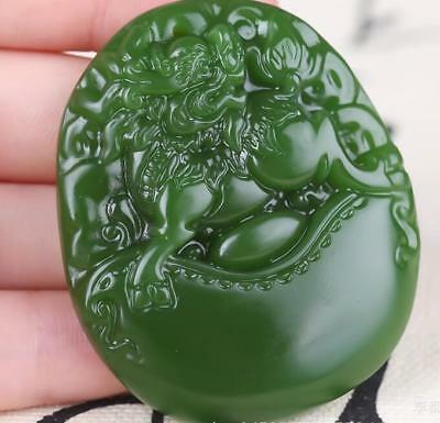 2018 China hand-carved Green Natural jade God beast Pendant Necklace Amulet