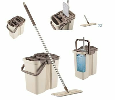 Cleaning MOP Bucket Set with 2 Chamber System Microfiber Mop Head with 2 Pads