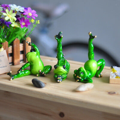 Novelty Resin Frog Figurines Yoga Posture Crafts Home Decor Ornaments E