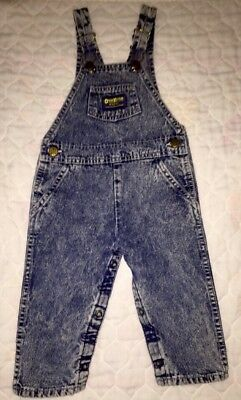 Vintage Osh Kosh 24 Months Acid Wash Denim Overalls Baby Girl   Made IN USA
