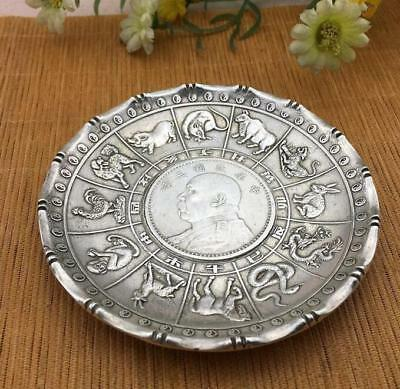 3.74 inch Miao silve statue  Zodiac money Coin wealth Plate China Collection