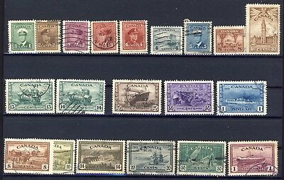 2x Canada used sets (20x stamps) War Issue No. 249 to 262 & Peace No. 268-273