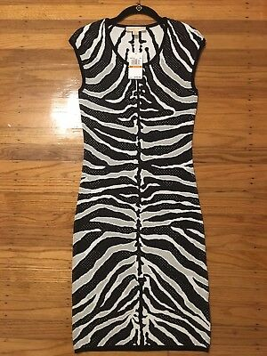 8b34eb39bc2 NWT 150 MICHAEL KORS Knit Fitted Midi Dress Zebra Animal Print Sleeveless  Size S