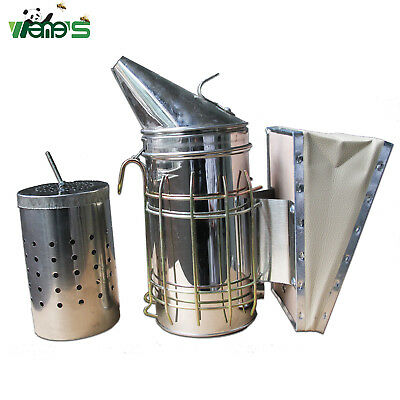 Size M Stainless Steel Bee Hive Smoker with Inner Tin Beekeeping Supplies