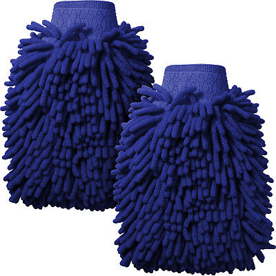 2x Blue Microfibre Noodle Car Wash Mitt Glove Double Side Super Absorbent Sponge