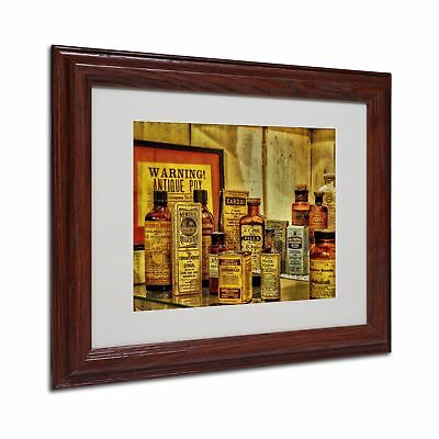 Trademark Fine Art Vintage Medicines Matted Framed Art by Lois Bryan with Woo...