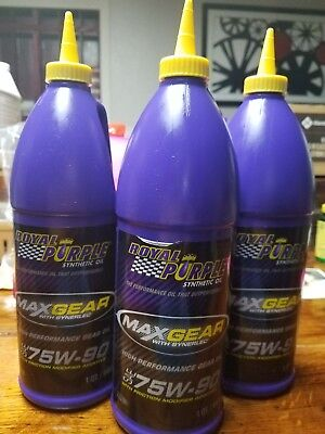 Lot of 3 Royal Purple Max Gear SAE 75W-90 Gear Oil (1-Quart Bottles)