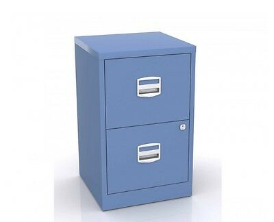 Metal Filing Cabinet Two Drawer Lockable A4 Files Draw Stationary Office Storage