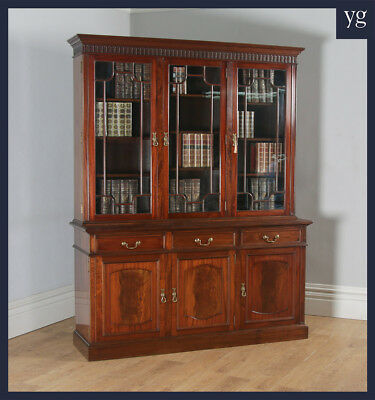 Antique Georgian Style Flame Mahogany Glazed Library Office Bookcase S H Jewell