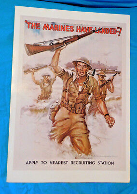"""Historical WWI Poster James Flagg Poster - (LOT P25) """"THE MARINES HAVE LANDED!"""""""