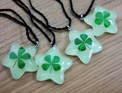 shamrock glow in dark real four leaf clover rope pendant st Patrick Irish 467