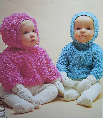 Babys Loopy And Bobbly Cardigan And Hat Knitting Pattern 285