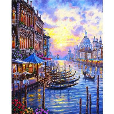 Frameless Canvas Venice Night Landscape Digital Oil Painting Abstract Paintings