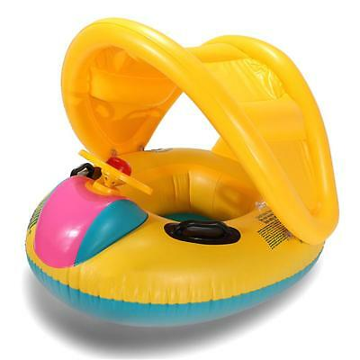 Inflatable Boat Floats Baby Seat Sun Shaded Swimming Pool Kids Ring Chair Summer