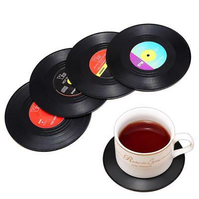 Cd Mat Record Coasters Drinks Table Silicone Round Vinyl Album Retro Placemat