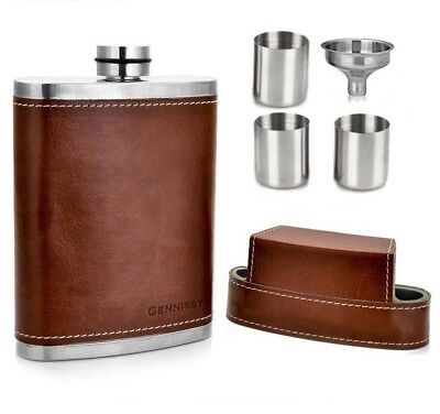 Leather Covered Hip Flask With 3 Caps For Men Outdoor Travel Stainless Steel 8oz
