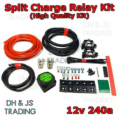5M Split Charge Relay Kit Voltage Sensitive - Camper Van Conversion Kit 140a 12v