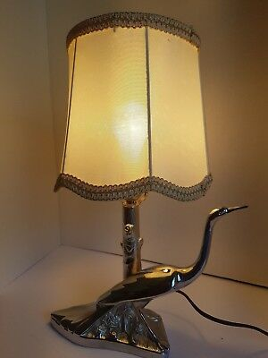 Vintage Lamp Metal Base with Bird and Tree Lampshade Works