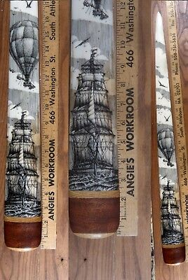 Scrimshaw Swordfish  Bill Pen-And-Ink  K. Henry  Ship  Balloonist Balloon