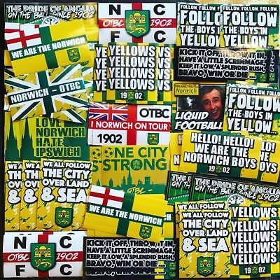 100 x Norwich City Stickers based on Shirt Canaries Flag Poster Hat Carrow Road